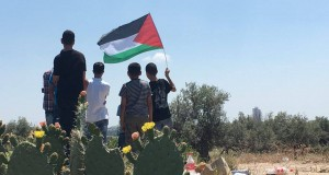 Demonstrators with the Palestinian flag in Ni'lin
