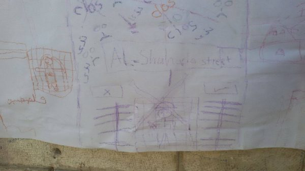 Children's drawing of Shuhada checkpoint