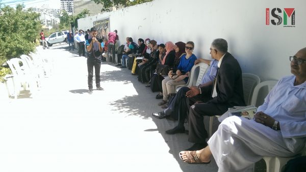solidarity sit-in for hunger strikers & in protest to family-visit cut at the ICRC in Hebron