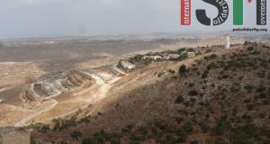 The illegal Israeli settlement of Nili overlooking village land.