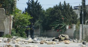 Israeli Border Police in Kafr Qaddum, ready to fire on the demonstrators.