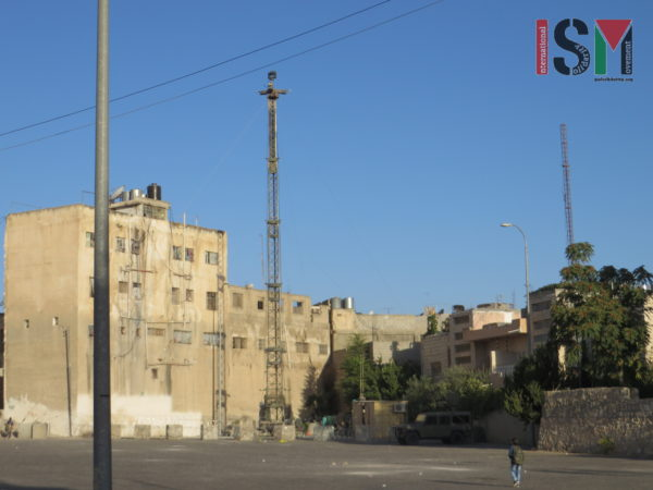 CCTV surveillance tower newly put up in Palestinian neighborhood