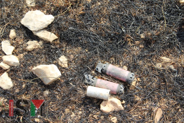 Spent casings of stun grenades and tear gas fired at protesters during previous demonstrations at Kafr Qaddum