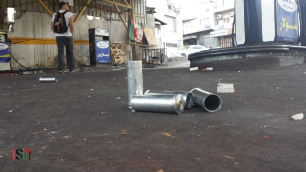 Rifle-fired tear gas canister shells used against unarmed Palestinian youth in the streets of Bab al-Zawiye in occupied Hebron. These crowd-control weapons are bought with money from US aid packages to Israel, usually directly from US arms companies.