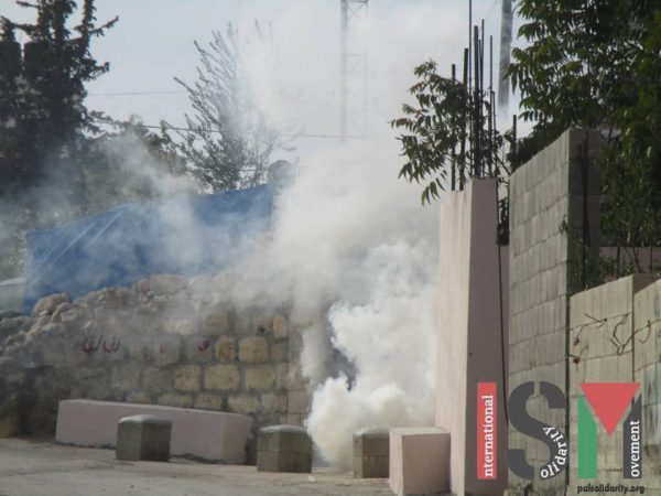 Tear gas inside the village