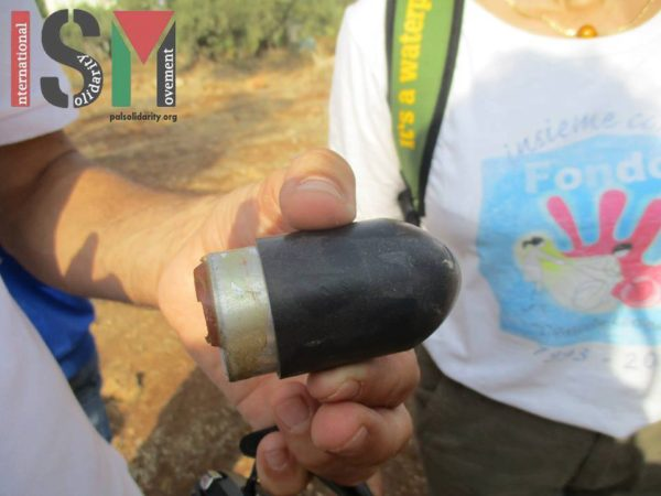 High velocity tear gas canister shot at civilians by the Israeli forces