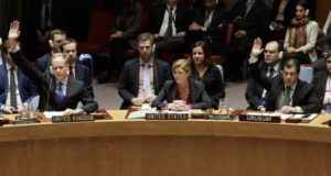The UN Security Council vote to pass a resolution condemning Israeli settlement construction as Samantha Power, centre, the US' permanent representative, abstains on December 23 [EPA]