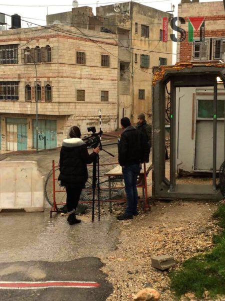 Palestinian journalists were denied entry through the checkpoint, as they were on their way to Shuhada Street, to document Palestinian school children walking through checkpoints on their way to school.