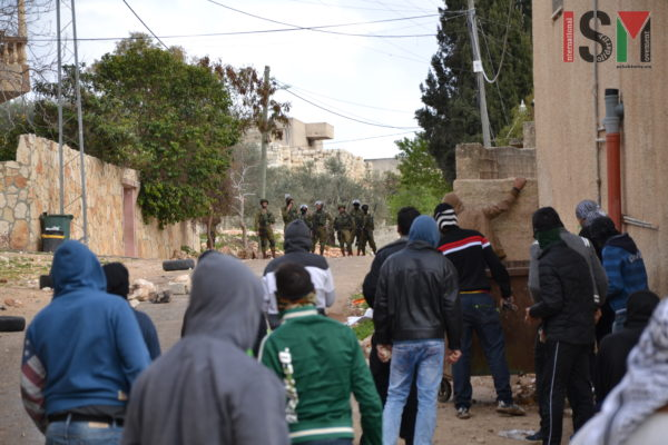 Large number of Israeli Forces invading the Palestinian village Kfar Qaddoum