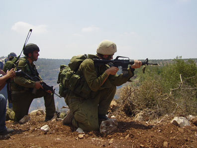 Soldiers take aim at civilian demonstrators who are trying to protect their land from the wall and settlement expansion.