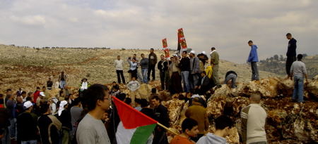 Palestinians, Internationals & Israelis Protest on the Path of the Wall in Aboud