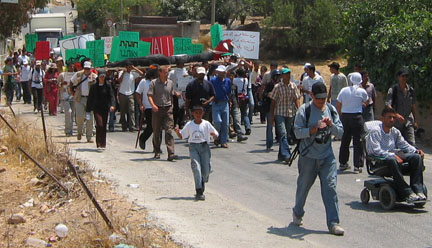 On the march in Bil'in - June 22, 2005